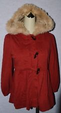 MARC BY MARC JACOBS SZ S RED FAUX FUR HOODED JACKET COAT TOGGLE BUTTON