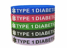Diabetic Medical Alert ID Silicone Bracelet Wristband Type 1, Set of 5