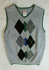 Gymboree Boys Sweater Vest Sz 5 6 Gray Green Argyle Casual Dressy Summer Spring