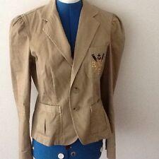 RALPH LAUREN RUGBY Jacket Beige Tan Button Down Blazer Coat 100% Cotton Women's