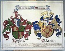 Gustav Adolf Carl Closs (1864-1938) Stamm-Wappen ROTFUSS & DINKELACKER um 1890 !