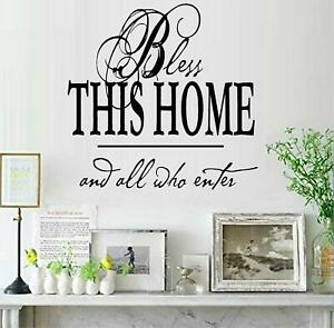 """Bless This Home Square Vinyl Wall Decal Sticker Home Décor Family 12.5"""" x 12.5"""""""
