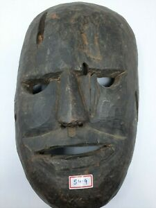 Old Vintage Hand Made Unique Wooden Face Mask Collectible Decorative NH5419