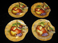 SET OF 4 HAND PAINTED CUP AND SAUCER,FRUITS WITH GOLD TRIM-JAPAN,FREE SHIPPING
