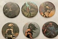 Vintage Frank Franzella pins Famous Monsters 6 buttons 1970's fantasy-artist