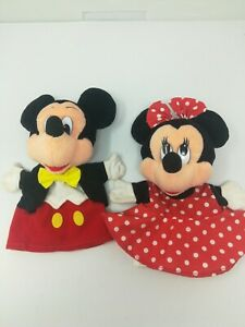 "Disney Mickey Mouse and Minnie Plush Hand Puppet Set 10"" Mattel Great Condition"