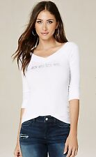 BEBE LOGO DOUBLE V NECK LONG SLEEVE WHITE TOP XS