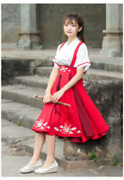Chinese Ancient Traditional Hanfu Women Fusion Modern Hanbok Strap dress Cosplay