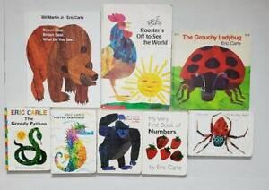 Eric Carle Lot of 7 SC/BB/HC/PICTURE/READING Books-Ladybug, Greedy Python,Seahor