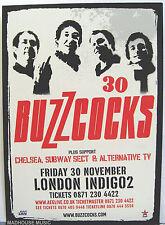 Punk BUZZCOCKS Gig FLYER Card 2007 30th Anniv. London + CHELSEA SUBWAY SECT Mint