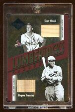 STAN MUSIAL / ROGERS HORNSBY DUAL GAME USED BAT #D 01/10 LUMBERJACKS 2003 LEAF