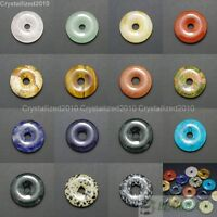 Natural Gemstone Round Donut Ring Pendant 30mm Beads Necklace Earring Jewelry