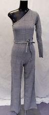 Femme Luxe Women's Houndstooth Belted One Shouler Jumpsuit SV3 Black US:4 UK:8