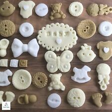 32 Edible Neutral Baby Sugar Christening Shower Cake Cupcake Decorations Toppers