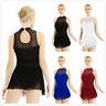 Womens Adult Mesh Splice Sleeveless Built-in Leotard Bodysuit Ballet Dance Dress