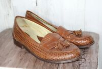 Paragon 9.5 D Basketweave Brown Leather Loafers Men's Shoes