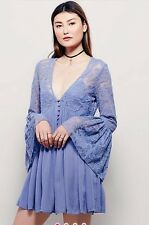 NWT FREE PEOPLE SzS WITH LOVE FROM INDIA BELL SLEEVE LACE DRESS TUNIC BLUE