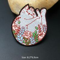 DIY Plants Sleeping Cat Sew On Iron On Patch Embroidered For Clothing Stickers