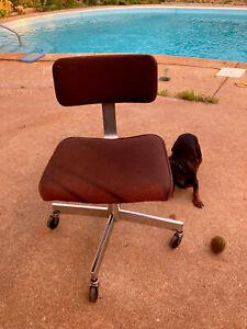 Vintage Mid Century Modern DOMORE INDUSTRIAL Drafting Stool Chair Rolling Swivel