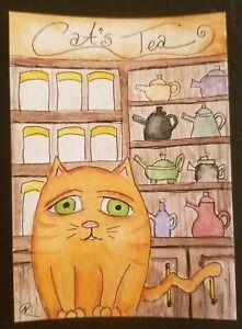 Aceo orange Cat Tea pot Store Original Watercolour Painting Nikki NFAC Coffee