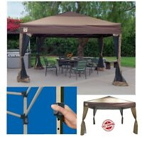 Portable Gazebo Large Canopy 10x10 Steel Frame Instant Brown Folding With Skirts