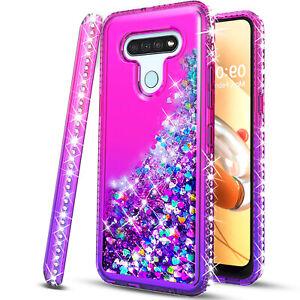 For LG Stylo 6 / 5 Case, Liquid Glitter Bling Cover + Tempered Glass Protector
