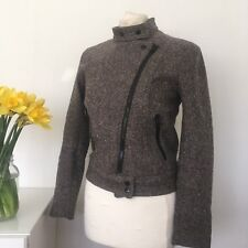 H&M Women's Tweed Style Biker Jacket In Wool Blend With Front Zip Uk 8