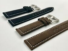 02 Straps (2) Bands 20mm Suede Leather Watch Strap Brown & Black Fast Shipping