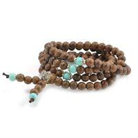 1X(Neu 108 Sandelholz Buddhist Buddha Meditation Gebetskette Mala Armband HH5I5)