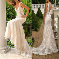 V Neck Strap Wedding Dresses White Ivory Bridal Gowns Lace Beaded Appliques 2019