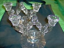 "Cambridge Glass Rose Point pattern Pair of Candle Holders 5.5"" tall"