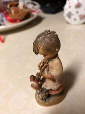 Vintage Anri Girl Trumpeter Cat Bird 6� Carved Wood Figurine #651-312