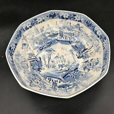 ANTIQUE  OLD BLUE AND WHITE CETEM WARE CHINESE WILLOW MALING FRUIT BOWL