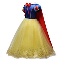 Girls Snow White Princess Costumes Long Fancy Roleplay Cosplay Party Tutu Dress