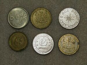6 pcs Lot Tokens from different countries-Ukraine, USA, other
