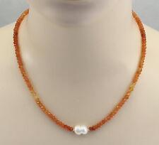 Karneol-Kette - Karneol facettiert im Farbverlauf mit Perle in 49 cm Länge