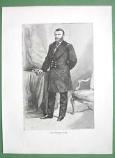 PRESIDENT GRANT in Military Uniform - 1882 Antique Print Engraving