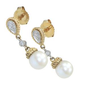 Gabriel & Co. Solid 14k Yellow 7mm Pearl .04 Diamond Drop Dangle Earrings