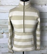 Patagonia Women's Better Sweater Stripe Marsupial Pullover Beige White Size S