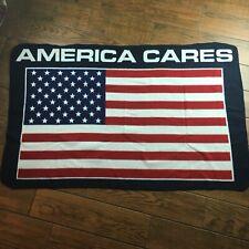 America Cares Us Flag Fleece Throw Blanket