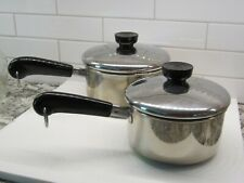 Lot of 2 1801 Revere Ware 1 & 1.5 qt Saucepan & Lids 18/10 Stainless Steel