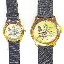New Rare Seiko His/Hers 'Symphony Hour' Mickey Gold Tone Watches! '0' Of 5K Made