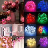20 LED Rose Flower Fairy Wedding Garden Party Christmas Decor String Lights New/