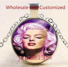 Marilyn Monroe Cabochon Tibetan silver Glass Chain Pendant Necklace #4691