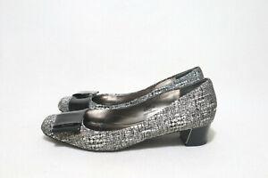 Size 11W Womens Vintage Glitz Square Toe Mini Block Heel