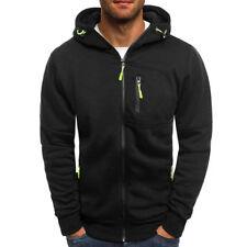 Mens Plain Hoodie Coloured Hooded Zip Up Jacket Men Warm Fleece Sweatshirt Tops