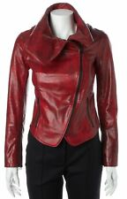 ALICE + OLIVIA Red Black Brushstroke Leather Fitted Motorcycle Jacket Size XS