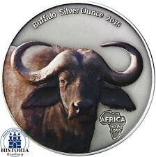 Afrika Serie: Gabun 1000 Francs Silber 2015 Antique Finish Büffel in Farbe