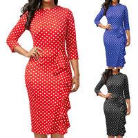 Women Long Sleeve Bodycon Midi Dress Ladies Formal Work Office OL Pencil Dress