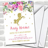 Floral Gold Unicorn Children's Birthday Party Invitations